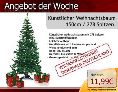 Weihnachtsbaum Tannenbaum künstlich 278 Spitzen 150cm