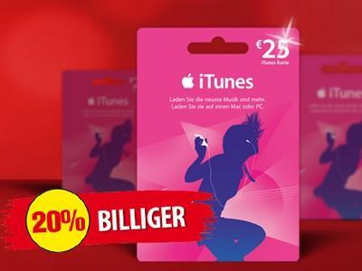 Penny Framstag Angebot 30.11-1.12 25€ iTunes Karte für 20€ (20% Ersparnis)