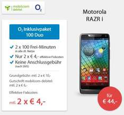 Motorola RARZ i für effektiv 236€ mit 2 Handyverträgen (Vergleichspreis: 386€) @Sparhandy
