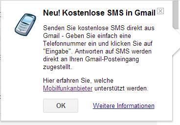 Kostenlose SMS in Gmail
