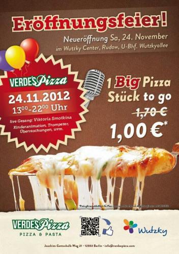 Verde´s Pizza & Gelatto - Großes stück Pizza für 1€, dazu Kuchen oder Eis 50% Günstiger! - Nur Heute in Berlin