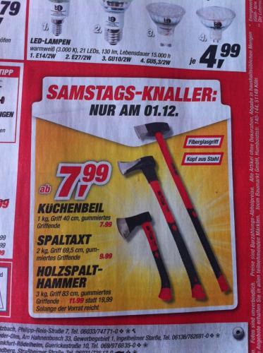 [Offline] Toom Baumarkt Küchenbeil 7,99, Spaltaxt 9,99, Holzspalthammer 11,99€ am 01.12