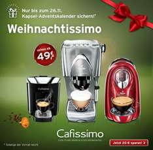 Cafissimo Kaffeemaschine: Adventskalender geschenkt