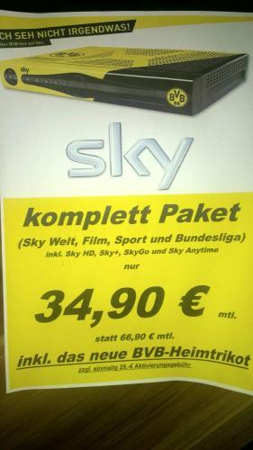 Sky komplett inkl. HD für 34,90€ und BVB-Heimtrikot gratis