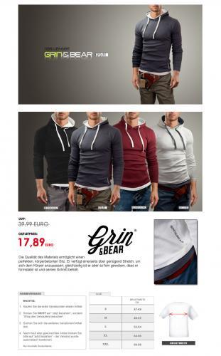 Grin & Bear Slim Fit Hoodies wieder verfügbar für nur 17,89 Euro  @ebay