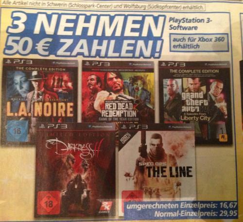 PS3: Red Dead Redemption, Spec Ops und Darkness 2 bei Real für 50 EUR.