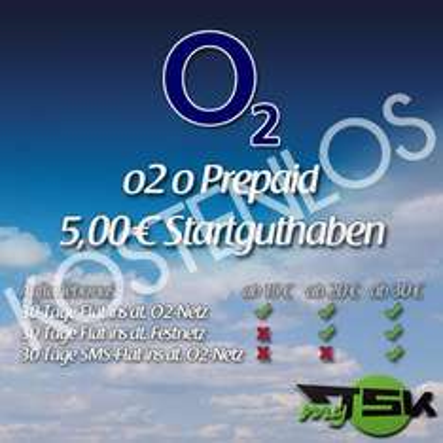 o2 Prepaidkarten mit 5€ Startguthaben Kostenlos
