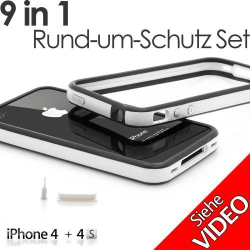 iPhone 4 / 4s Sicherheits Bumper Set in schwarz weiss
