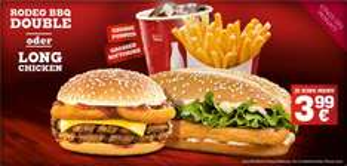 [King(s) des Monats]Long Chicken oder Rodeo BBQ Double + große Pommes + großer Softdrink für 3,99€  - ab morgen bei Burger King®