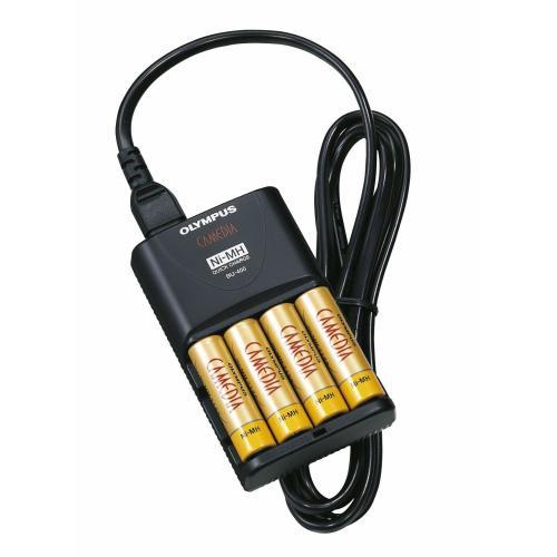 Schnellladegerät für  AA Mignon &  AAA Micro NIMH Akkus / Olympus BU-90SE / inkl. 4 Akkus 2300 Ni-MH
