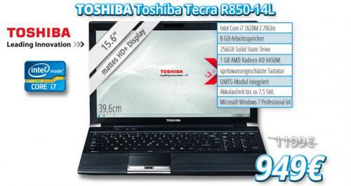 Toshiba Tecra R850-14L / i7 (2,7 GHz) / 256 GB SSD / mattes 15,6 HD+ Display / UMTS / 8 GB RAM / Radeon HD 6450M (1GB) / USB 3.0 /  Bluetooth / spritwassergeschützte Tastatur mit 250 € Ersparnis !!!