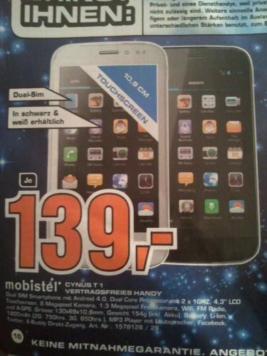 mobistel CYNUS T1 Smartphone 139€ [lokal Saturn Nürnberg/Fürth]