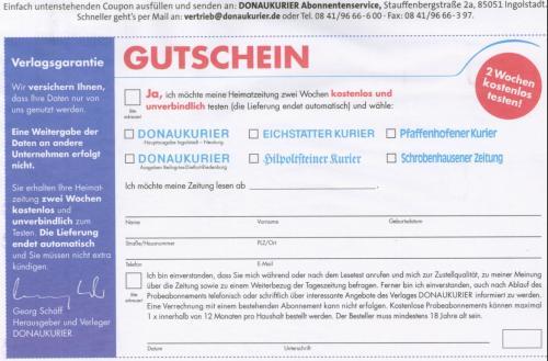 lokale Tageszeitung DONAUKURIER 14 Tage kostenlos testen (selbstkündigend)
