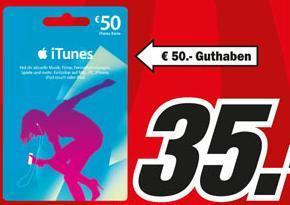 50 € iTunes-Karte für 35 € @Media Markt Dorsten