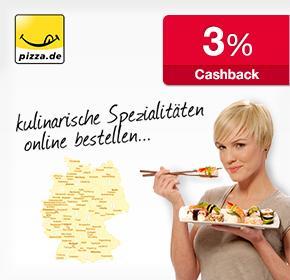 Neu! Jetzt bei Pizza.de  3% qipu Cashback auf jede Bestellung