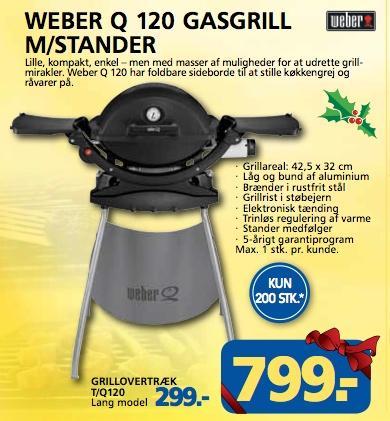 Dänemark: Weber Grill Q120 mit Stand für 799 Kronen (ca. 108€) ab 1. Dezember 2012