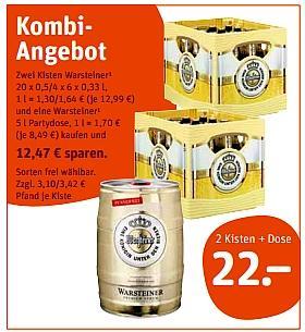 [Offline/ tegut ...] Holsten Pilsener (20x 0,5L) - 7,77 II 2 Kästen Warsteiner + 5 Liter Warsteiner Fass für 22,00€
