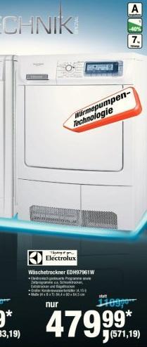 Electrolux Wärmepumpen Trockner EDH97961W @Metro