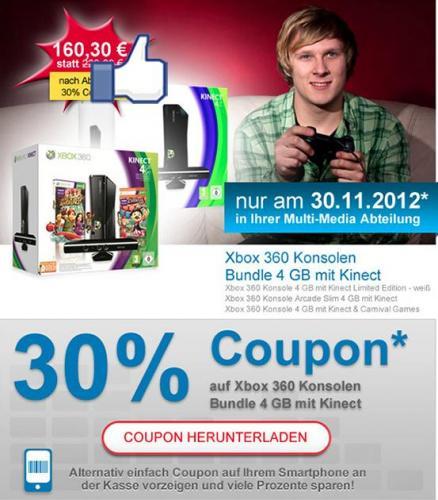 [offline Müller] Xbox 360 4 GB mit Kinect & Carnival Games oder Xbox Arcade Slim 4 GB mit Kinect - nur am 30.11.