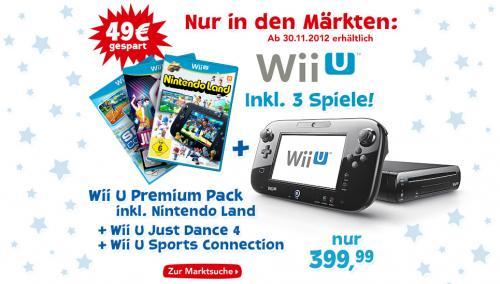 Wii U Premium inkl. 3 Spiele bei Toy R Us für 399,99€