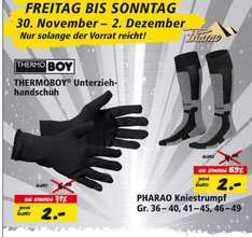 PHARAO Kniestrumpf oder THERMOBOY Unterziehhandschuh für je 2€ [online & offline Polo]
