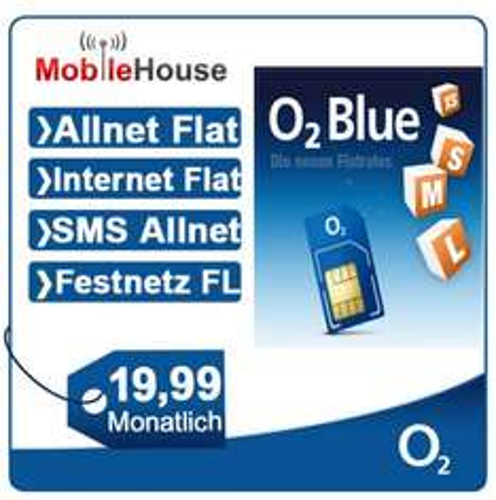o2 Blue M Flatrate in alle Netze inkl. SMS u. Internetflat / Allnet-Flat 19,99 €