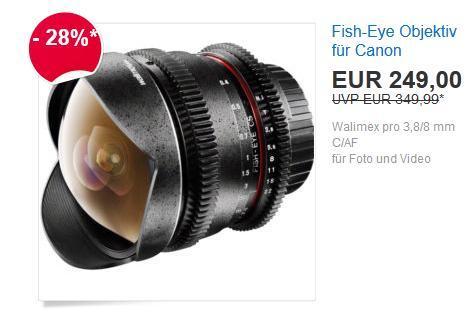Ebay WOW! Angebote: Walimex pro 3,8/8mm C/AF Fish-Eye Objektiv