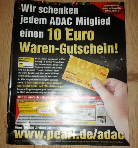 10 € Pearl Gutschein für ADAC Mitglieder bis 31.12.2012 verlängert