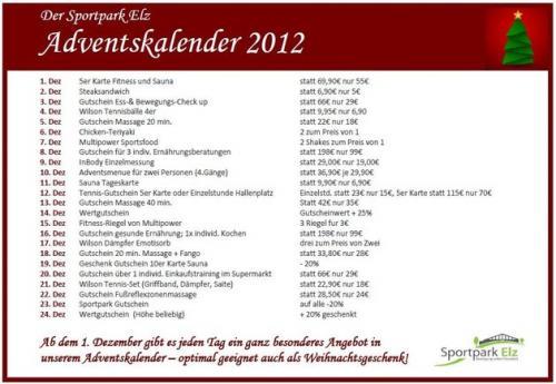 [Lokal] Limburg und Westerwald: Adventskalender mit 30% Ersparnis (Tennisbälle, Massage, Sandwich, Chicken Teriyaki, etc.) im Sportpark Elz