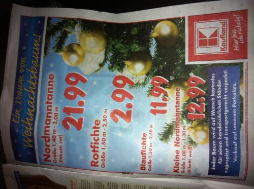 Oh Tannenbaum... Rotfichte 1,50 Meter - 2,50 Meter für 2,99 € @ Kaufland bundesweit