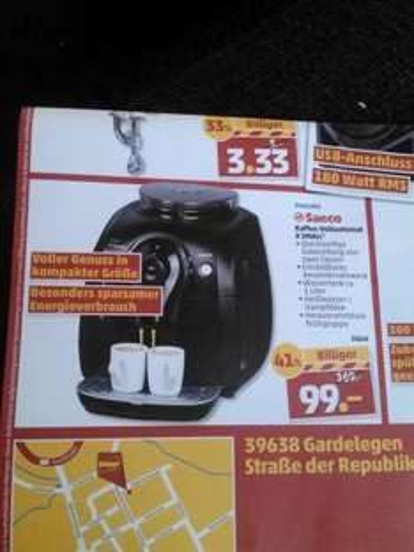Phillips Saeco X Small Kaffeevollautomat für 99€ im Penny Gardelegen