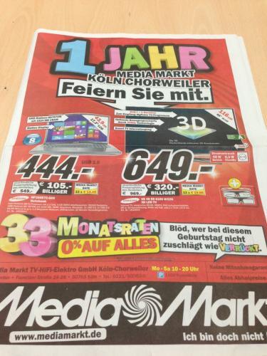 [lokal Köln] MM Chorweiler Geburtstagswerbung bis 8.12.12