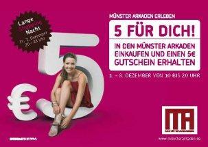 Münster Arkaden: Für 20€ einkaufen, 5€ Gutschein kassieren