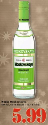 [Marktkauf] Moskovskaya Vodka 0,5L für 5,99€
