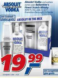 [Offline Real] 2 x 0,7l Absolut Vodka 40%  + Cocktailshaker