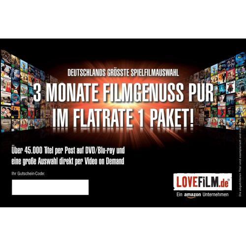 3 Monate LOVEFiLM Flatrate 1 für 9,99€