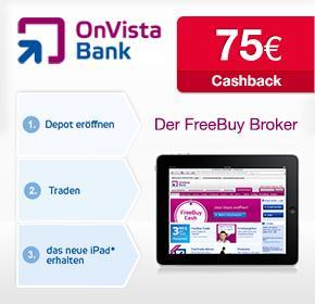 Das neue Apple iPad + 75€ Cashback bei der OnVista Bank für 50 Wertpapiertransaktionen