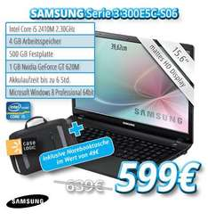 Samsung Serie 3 300E5C-S06 / mattes 15,6 Zoll Display / i5-2410M 2,3GHz / 4GB RAM / 500GB HDD / WLAN / Bluetooth 4.0 / Win8 Prof. inkl. gratis CaseLogic Notebooktasche