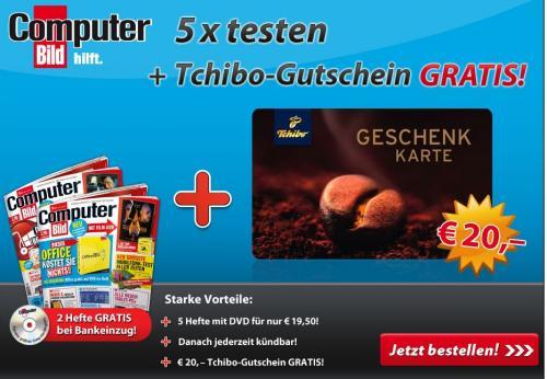 5x Computerbild inkl. 5 x DVD und 20 Eurogutschein von Tschibo