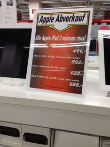 [Lokal offline Schwabach] MM iPad 3 Abverkauf
