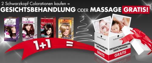 2 Schwarzkopf Colorationen kaufen = Gesichtsbehandlung oder Massage gratis