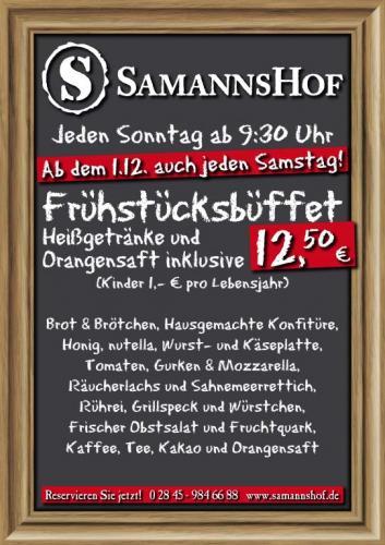 Am Niederrhein: Frühstücksbüffet inkl. Getränke für 8,75€ statt 12,50€ (30%)