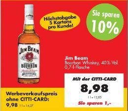 Jim Beam Bourbon Whiskey (40% Vol.) für €8,98 [@Citti-Markt OFFLINE]