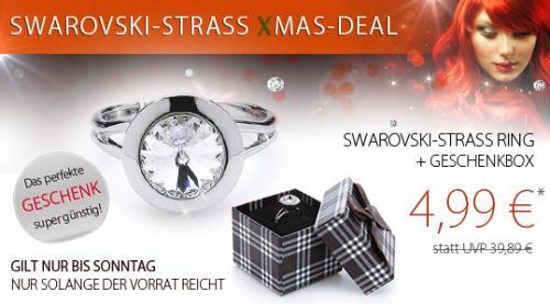 Ring mit Swarovski-Strass + Geschenkbox  für 4,99 € / mit 3€-Gutschein 78F19D nur 1,99 (zzgl. Versand)