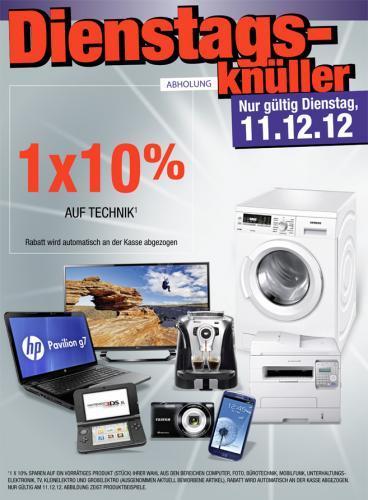[METRO] 10% auf Technik  (auch APPLE) nur am  11.12.2012 nur für ein Produkt