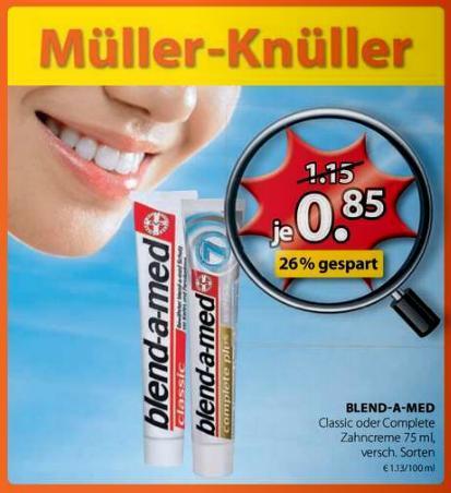 Blend-a-Med Classic oder Complete für 0,35€ @ Müller