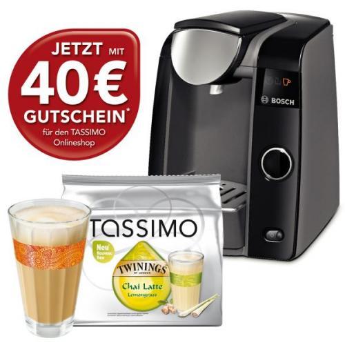 Tassimo T 43 Joy Maschine schwarz + Gratis Chai Latte Lemongrass + WMF Chai Glas  @eBay Sonntags- bescherung