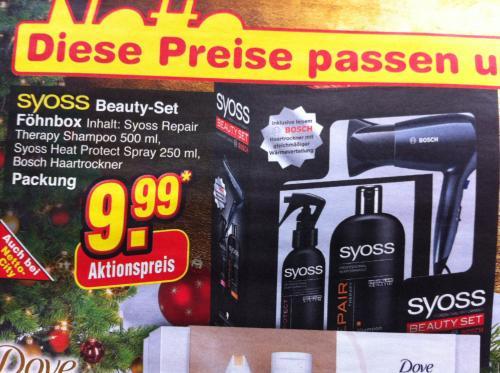 Netto Ohne Hund Syoss Beuty-Set inkl. Bosch Haartrockner 9,99€