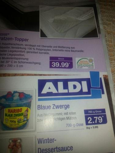 """haribo schlümpfe bzw. """"Blaue Zwerge"""" ab Montag bei Aldi Nord 700g 2.79€"""