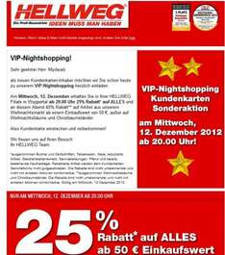 (Lokal Wuppertal) Hellweg Baumarkt Nightshopping am 12.12 ab 20 Uhr 25% auf alles ..